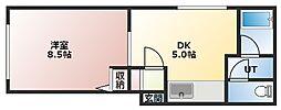 グランメールパレ 2階1DKの間取り