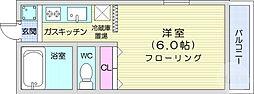 仙台市地下鉄東西線 川内駅 徒歩6分の賃貸アパート 1階1Kの間取り