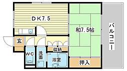 兵庫県高砂市阿弥陀町阿弥陀の賃貸マンションの間取り