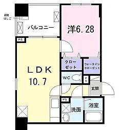 東京メトロ日比谷線 築地駅 徒歩8分の賃貸マンション 9階1LDKの間取り