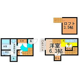 愛知県名古屋市中川区松葉町3丁目の賃貸アパートの間取り