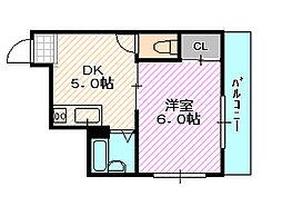 シャルマン新喜多[4階]の間取り