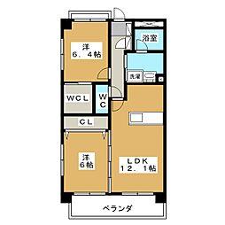 ロイヤルコート籠上 A棟[1階]の間取り