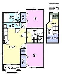 広島県府中市用土町の賃貸アパートの間取り