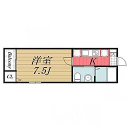 千葉都市モノレール 天台駅 徒歩6分の賃貸アパート 2階1Kの間取り