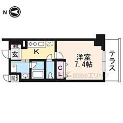 ベラジオ京都一乗寺III 1階1Kの間取り