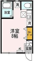 神奈川県厚木市温水の賃貸アパートの間取り