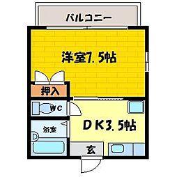 シングルハイツ濱口Ⅱ[103号室]の間取り