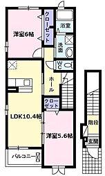 愛知県名古屋市名東区西里町5丁目の賃貸アパートの間取り