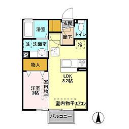 ミルアモールB[2階]の間取り