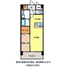 JR信越本線 長野駅 徒歩10分の賃貸マンション 4階1LDKの間取り