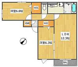 ミドリ八幡レジデンス[2階]の間取り