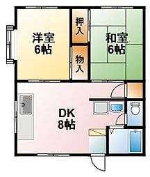 千葉県茂原市下永吉の賃貸アパートの間取り