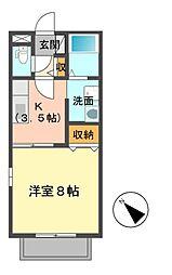 カーサ・ラ・コスタ 2階1Kの間取り