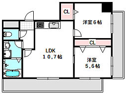新築DHマンション 7階2LDKの間取り