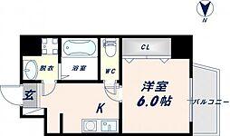 JR大阪環状線 寺田町駅 徒歩10分の賃貸マンション 7階1Kの間取り