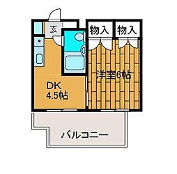 スカイコート矢部[4階]の間取り