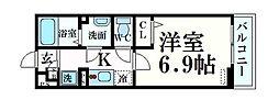 JR東海道・山陽本線 六甲道駅 徒歩10分の賃貸マンション 1階1Kの間取り