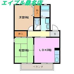 三重県桑名市多度町香取の賃貸アパートの間取り