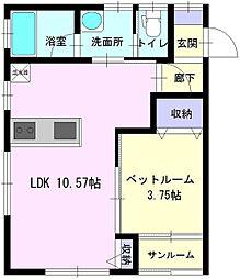 秋田県大仙市幸町の賃貸アパートの間取り
