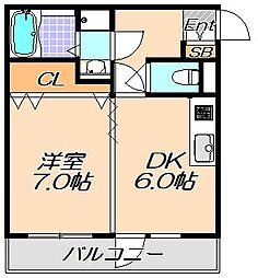 兵庫県神戸市灘区楠丘町2丁目の賃貸マンションの間取り