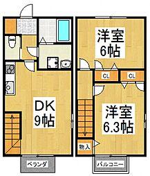 [テラスハウス] 東京都東大和市南街3丁目 の賃貸【東京都 / 東大和市】の間取り