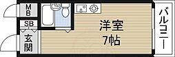 ペントハウス新大阪1 2階ワンルームの間取り