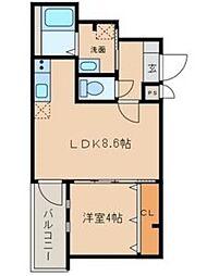 愛知県名古屋市北区石園町3丁目の賃貸アパートの間取り