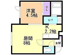 TOMATO 2階1LDKの間取り