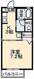 岡山県岡山市北区津島福居2丁目の賃貸アパートの間取り