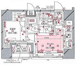 都営大江戸線 汐留駅 徒歩4分の賃貸マンション 8階1DKの間取り