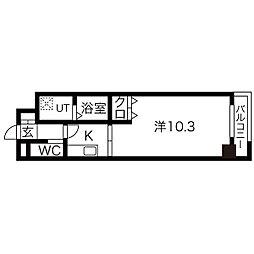 ドゥナーレ畑江通 2階1Kの間取り