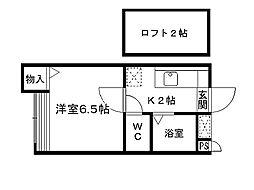 福岡県北九州市八幡西区森下町の賃貸アパートの間取り