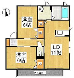 シャトルサウス A棟[2階]の間取り