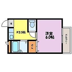 滋賀県大津市梅林1丁目の賃貸アパートの間取り