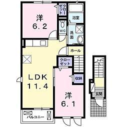 香川県三豊市豊中町比地大の賃貸アパートの間取り