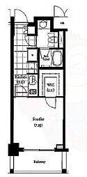 パークキューブ目黒タワー 3階1Kの間取り