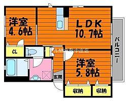 岡山県倉敷市真備町箭田丁目なしの賃貸アパートの間取り