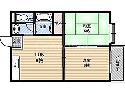ハイムM&K今津[3階]の間取り
