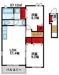 EVAー01(エヴァー01)[2階]の間取り