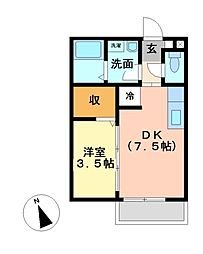 三重県津市高茶屋5丁目の賃貸アパートの間取り