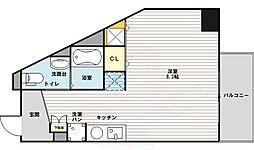 フレアコート新大阪 5階ワンルームの間取り