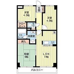 埼玉県さいたま市見沼区東大宮7丁目の賃貸マンションの間取り