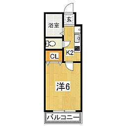 京都府京都市山科区椥辻中在家町の賃貸マンションの間取り