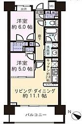 都営大江戸線 勝どき駅 徒歩7分の賃貸マンション 11階2LDKの間取り