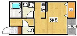 メゾン・ア・ルゥエ 1階ワンルームの間取り