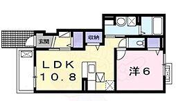 南海高野線 北野田駅 徒歩11分の賃貸アパート 1階1LDKの間取り