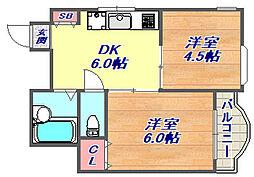 ハイツ本山南[2階]の間取り