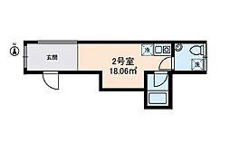 東京メトロ日比谷線 三ノ輪駅 徒歩4分の賃貸マンション 2階ワンルームの間取り