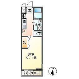 JR常磐線 牛久駅 徒歩34分の賃貸アパート 2階1Kの間取り